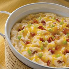 A creamy casserole of hearty potatoes, cheddar cheese, bacon and green onions. With this dish you won't have anything left to take home!    The original post is found by linking the picture which leads you to the orginal.