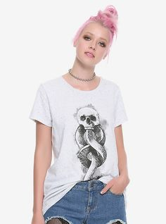 52618ee1ac7 Show your loyalty to Voldemort by wearing this grey speckled tee from Harry  Potter featuring the Dark Mark on the front. dry low Imported Listed in  junior ...