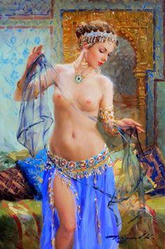 Maher Art Gallery: RIDDLE OF THE EAST ... - Art by KONSTANTIN RAZUMOV - In the harem