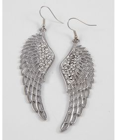 264973 Rhodiumized / Clear Rhinestone / Lead Compliant / Angel Wing Dangles / Fish Hook Earring Set