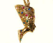 Egyptian Revival Pharaoh King Tut Trifari Necklace and Pendant