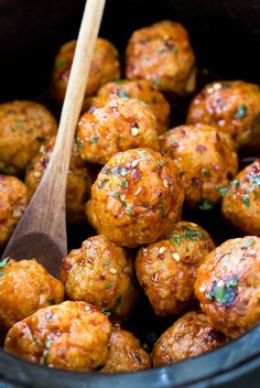 Super Easy Slow Cooker Firecracker Chicken Meatballs. The perfect blend of spicy and sweet! They make a great appetizer or main dish!