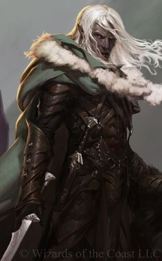Drizzt concept art, digital painting, dungeons and dragons, roleplay, rpg character, drow, game, dnd