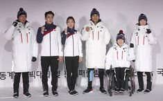 Athlestes pose in Seoul on Tuesday in the uniforms for the 2018 Winter Olympics in Pyeongchang. The uniforms for the athletes representing Korea at the 2018 Winter Olympics in Pyeongchang were unveiled on Tuesday at the National Training Center in Seoul. The North Face, 2018 Winter Olympics, Korean Wave, Korean Entertainment, School Uniform, Color Negra, South Korea, Adidas Jacket, Outfits