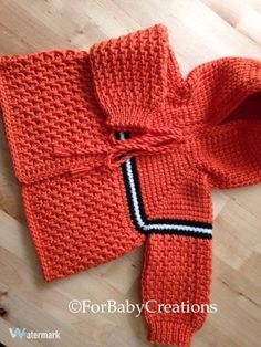 Orange Crochet Baby Sweater with Hood for Boy or Girl   0-3