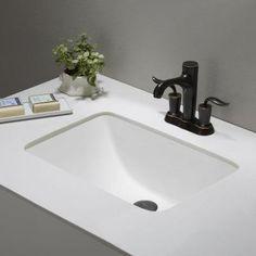 KRAUS Elavo Ceramic Large Rectangular Undermount Bathroom Sink In White  With Overflow KCU 251