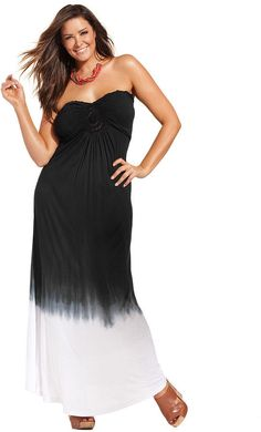 Raviya Plus Size Strapless Ombre Maxi Dress Cover Up on shopstyle.com