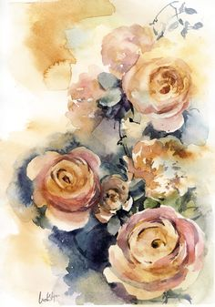 Peach Roses Original Watercolor Painting, roses watercolour art, floral painting, modern watercolour art by CanotStop on Etsy