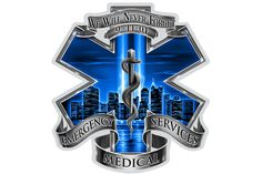 911 Emergency Medical Services EMS Blue Skies We Will Never Forget Reflective Decal from Mustang Loot