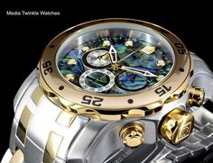 Invicta 48mm Pro Diver ABALONE DIAL Quartz Chronograph Two Tone Gold Tone Watch