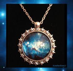 SILVER SCI FI  GLASS OPTIC SPACE GALAXY BLUE MULTI CABOCHON PENDANT NECKLACE #Handmade #Pendant