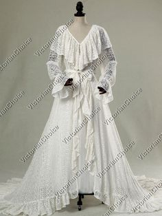 388fae14697 Includes  1 Premium quality Edwardian wedding lace overall robe cotton).  White slip gown shown underneath in photos is not included with this robe.