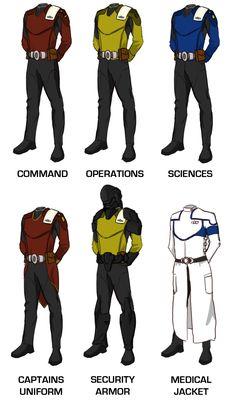 Sets of unifroms Star Trek Rpg, Star Wars, Star Trek Ships, Kampfstern Galactica, Battlestar Galactica, Science Fiction, Star Trek Cosplay, Star Trek Online, Armor Clothing