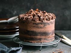 Extremely delicious, easy Naked dark chocolate cake with cream cheese | jernejkitchen