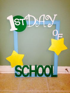 "A photo frame for my students to hold while I take their first day of school picture. I used Velcro to attach the word ""1st"" so I can reuse the frame for the 100th and last day of school. I used acrylic paint to paint all the wood objects (2 paint coats) and hot glue to attach everything. I sprayed the finished frame with Plastercraft Acrylic Matte Spray Finish which works on wood, ceramics, plaster, papier-mâché, and other craft projects."