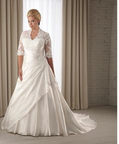 covered chest wedding dresses for plus size | ... Plus Size Wedding Dress With Sleeves-in Wedding Dresses from Apparel