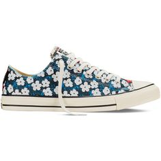 Converse Chuck Taylor All Star Andy Warhol Floral – spray paint blue... ($65) ❤ liked on Polyvore featuring shoes, sneakers, spray paint blue, blue floral shoes, blue shoes, floral print shoes, flower print shoes and blossom footwear