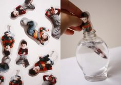 Take pictures of kids, print on transparency paper, cut, and put in a bottle of clear liquid soap!