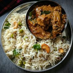 Ghee rice with pepper chicken curry