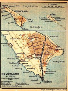 Beautiful old German map of Heligoland, a curious lump in the North Sea