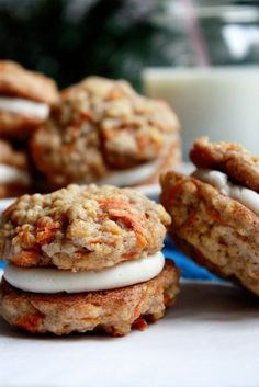 Carrot Cake Cookies with Cream Cheese Frosting Filling