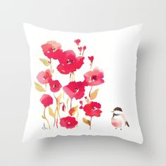 Poppies+Throw+Pillow+by+Fitchwell's+Watercolors+-+$20.00