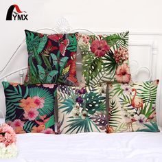 """18"""" Tropical Flamingo Butterfly Cotton and Hemp Sofa Cushion Cover Decorative Pillow Cases Wholesale 2017"""