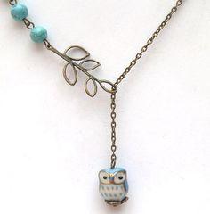 Un collier de hibou laiton vieilli feuille par gemandmetal sur Etsy, $12.99