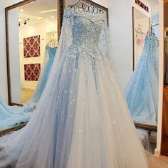 A-Line Long Sleeves Light Sky Blue Tulle Prom Dress with Beading Appliques