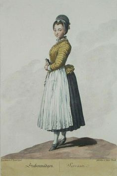 German maid, evidence of patterned jacket worn with solid skirt