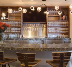 Hand Blown Glass Fixture by Chandelier for The Tasting Room Del Mar. Photo by Jim Brady