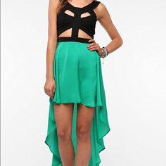 All Black Reverse High Low Dress