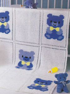 Crochet-Pattern-TEDDY-BEAR-Baby-Afghan-Pillow-Instructions