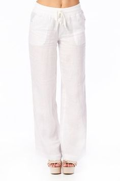 Tops and Bottoms HS Women`s Wide Leg Loose Fit Linen Pants with Drawstring