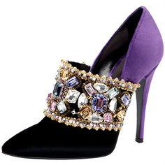 Casadei.  Décolletée in velluto bicolore con applicazioni bijoux.  Beautiful shoe.