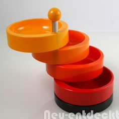 Emsa Etagere Party-Time vintage Kult Design 70er Rondell Menage orange 1070