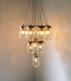 3 Tier Upside Down Wedding Cake Mason Jar Chandelier Lighting Hanging Swag - Eco Friendly Rustic Wedding - Original BootsNGus Design by BootsNGuns on Etsy $275.00