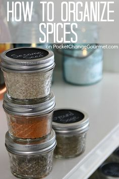 How to Organize Spices - Includes links to 6 different spice and herbal blends. Homemade Recipes for Greek Seasoning, Taco Seasoning, Pumpkin Pie Spice, Apple Pie Spice, Grilling Spice Blend, and Red Robin {Copycat} Seasoning.