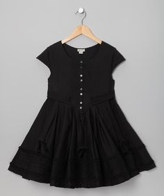 Take a look at this Black Pintuck Festoo Dress - Girls by Eliane et Lena on #zulily today!