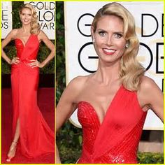 More of my own favorites from the Golden Globes 2015 Red Carpet: Heidi Klum was absolutely gorgeous. She was another celebrity who seemed to be channeling some Old Hollywood Glamour in a red Versace Atelier dress, custom Jimmy Choo shoes, and Lorraine Schwartz jewelry - and her hair done in picture perfect classic blonde waves.
