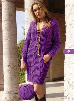 Knit dress purple cable style  Gebreide jurk paars kabel model  Модель 09