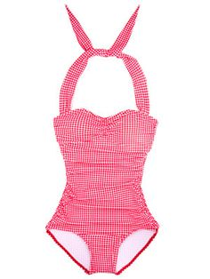 Timeless gingham suit with a skirted front. #swim