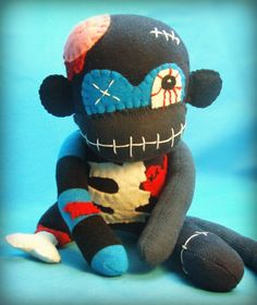 Albert The Zombie Sock Monkey Monster - Halloween Handmade Plush/Toy/Doll