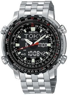 Seiko Men's SNJ017 Analog Digital World Time Flight Chronograph Watch Seiko