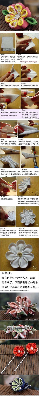 Hermosa flor de tela japonesa que hace tutorial - yo fresca