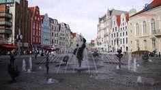 Videopostal en el centro de Rostock mirando a la plaza