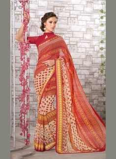 Glossy Multi Colour Print Work Georgette Casual Saree