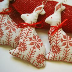 Redwork Garden Rabbit Easter Ornament by CherieWheeler on Etsy, $12.00