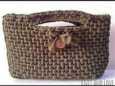 crochet PURSE HANDBAG with t-shirt yarn (tarn, zpaghetti, trapillo, totora) - YouTube