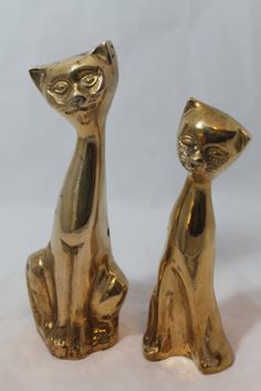 """Solid Brass Pair of Seated Cat Couple Cats Kittens Male 7"""" Female 6"""" #Gifts"""